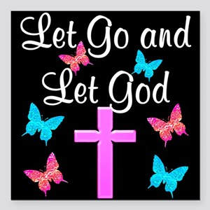 "TRUST GOD Square Car Magnet 3"" x 3"""
